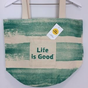 Life is Good Beach Tote Bag 100% Cotton Green